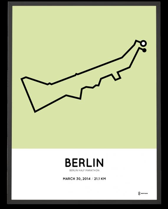 2014 Berlin halbmarathon strecke map poster