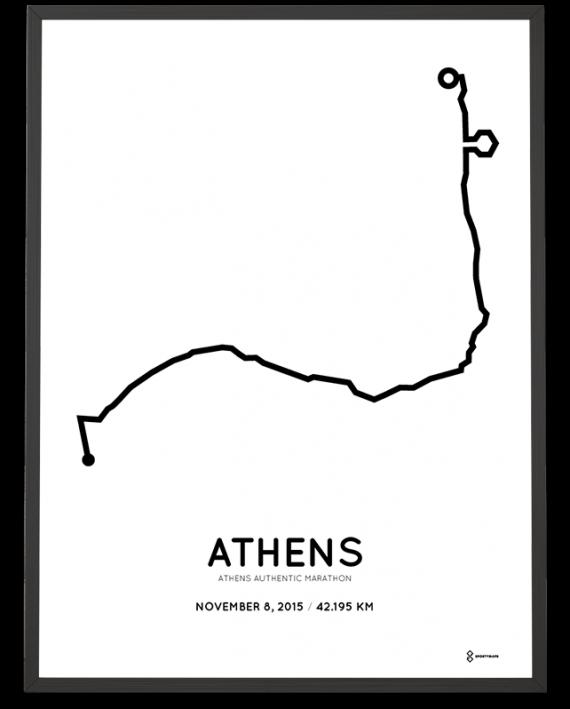 2015 Athens authentic marathon coursemap poster