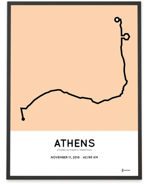 2018 Athens authentic marathon coursemap poster