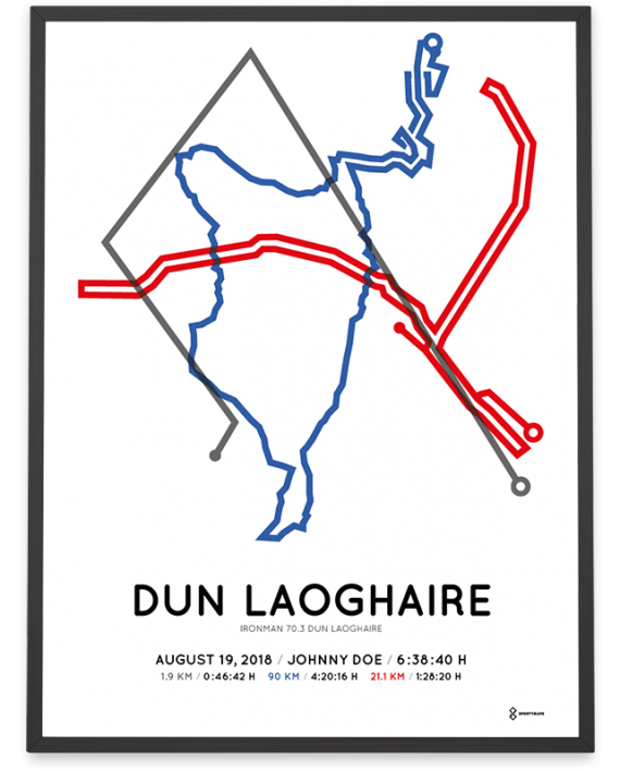 2018 Ironman 70.3 dun laoghaire sportymaps course poster