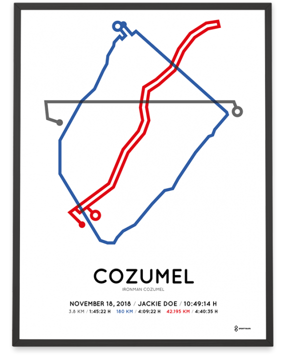 2018 Ironman Cozumel route print