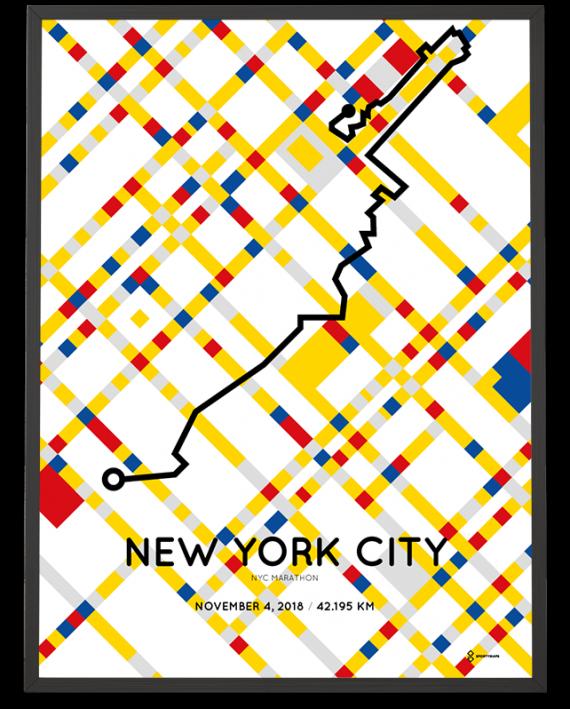 2018 NYC marathon special Mondriaan edition course poster