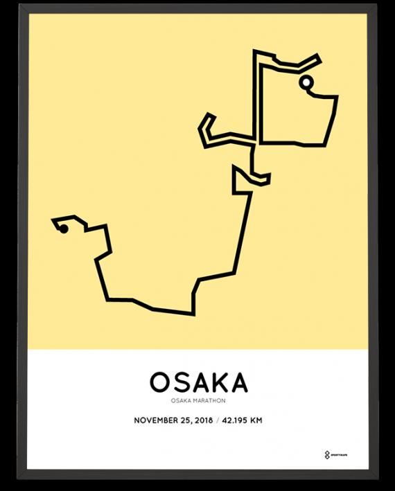 2018 Osaka marathon route map poster
