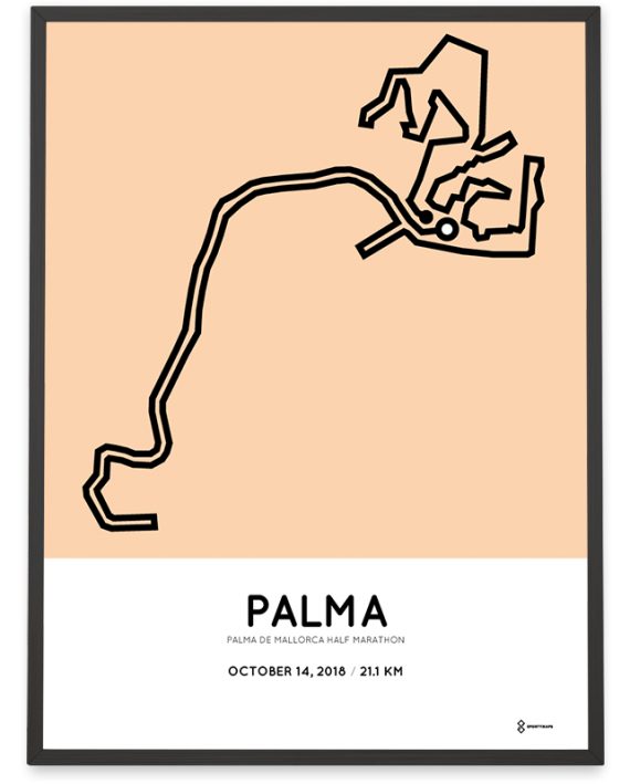 2018 Palma de Mallorca half marathon sportymaps route poster