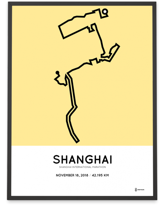 2018 Shanghai International marathon course sportymaps poster