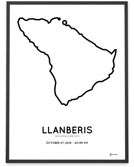 2018 Snowdonia marathon route map poster