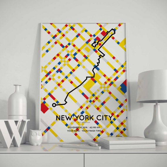 2018 New York City marathon special edition Mondriaan Boogie Woogie route map print