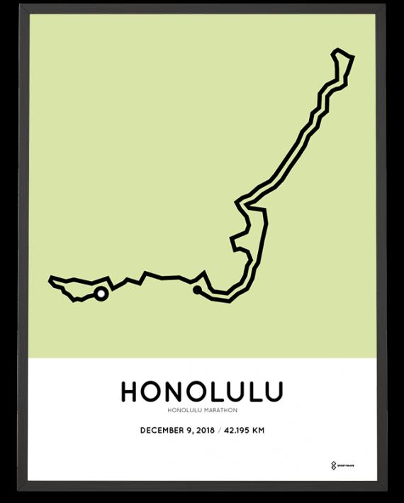 2018 Honolulu marathon course sportymaps poster