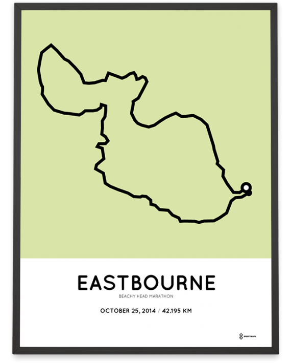 2014 Beachy Head Eastbourne marathon course poster