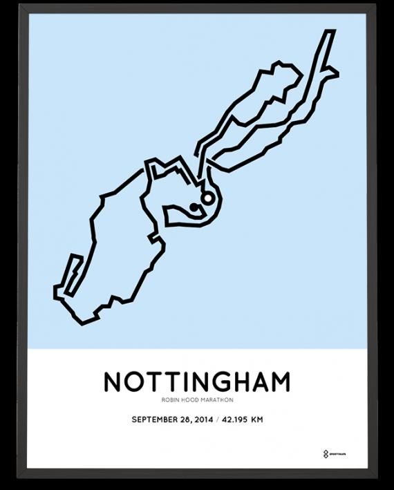 2014 Nottingham marathon course poster