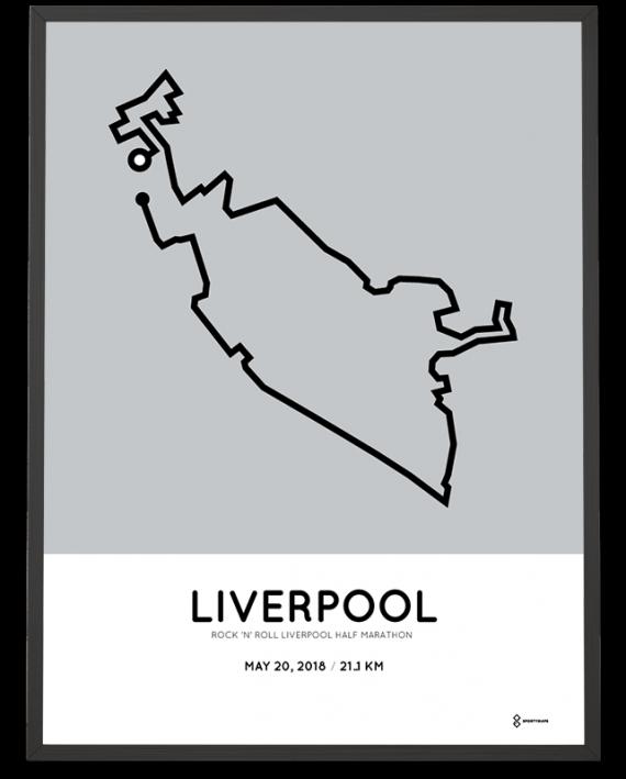 2018 RnR Liverpool half marathon course poster