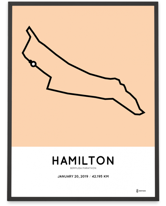2019 Bermuda marathon coursemap print