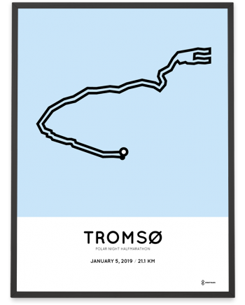 2019 Tromso Polar night halfmarathon course poster