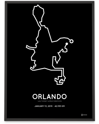 2019 Walt Disney World orlando marathon course print