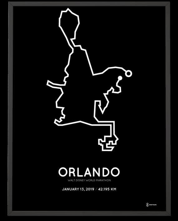 2019 Walt Disney World orlando marathon course print