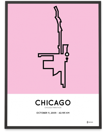 2009 Chicago marathon course poster