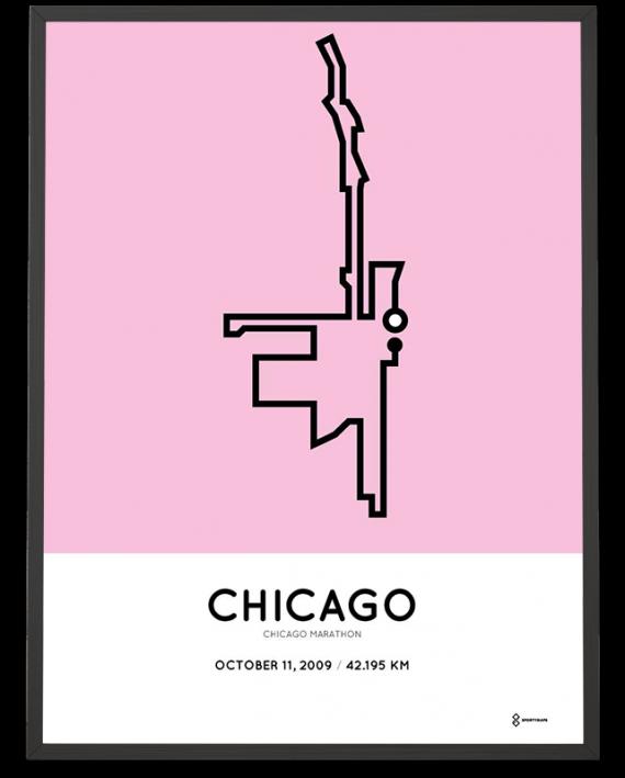 2009 Chicago marathon course poster