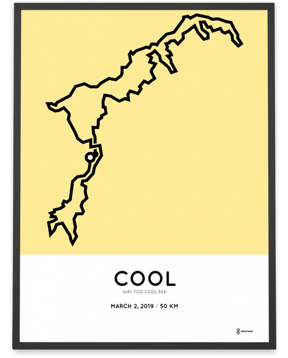2019 Way too Cool 50k sportymaps course poster