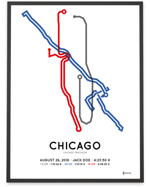 2018 Chicago triathlon olympic distance course poster
