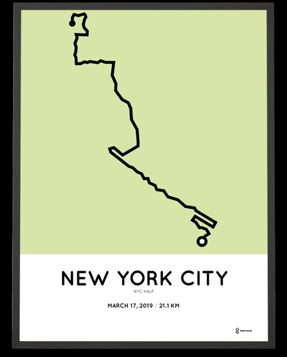 2019 NYC half mararthon course map print