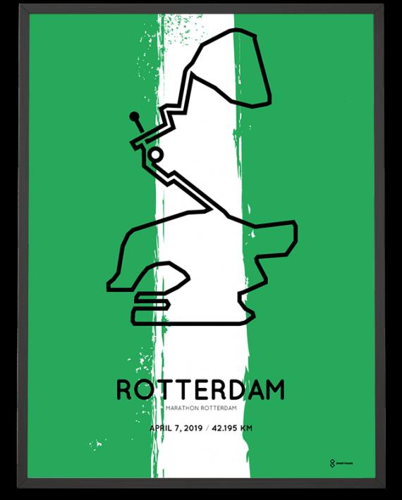 2019 Rotterdam marathon special edition course poster sportymaps