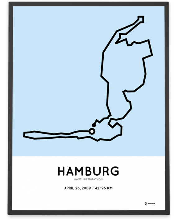 2009 Hamburg marathon coursemap print