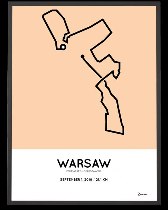 2018 Warsaw half marathon routemap artprint