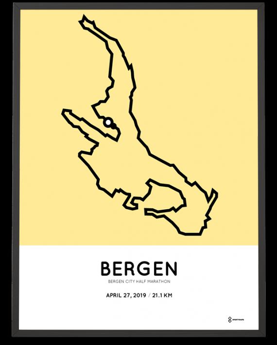 2019 Bergen City half marathon course poster