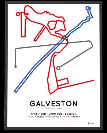 2019 Ironman 70.3 Galveston course poster