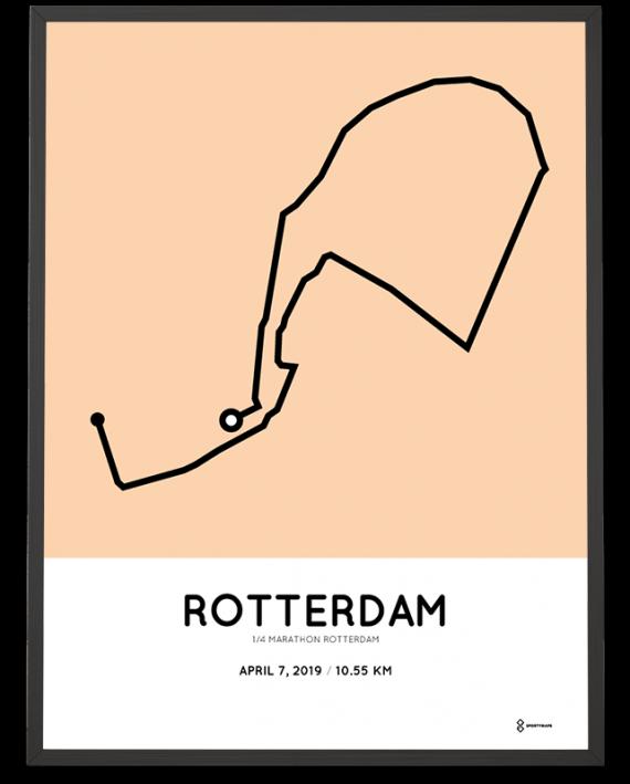 2019 Rotterdam kwart marathon route poster