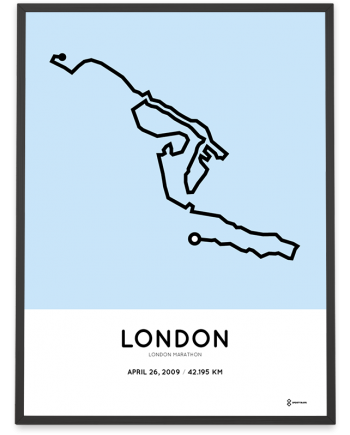 2009 London marathon course poster