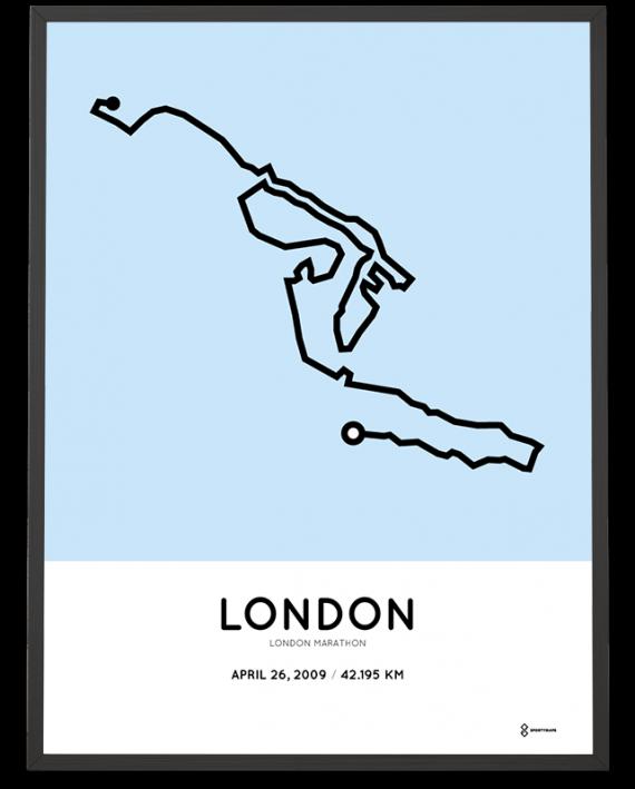 2009 London marathon course poster