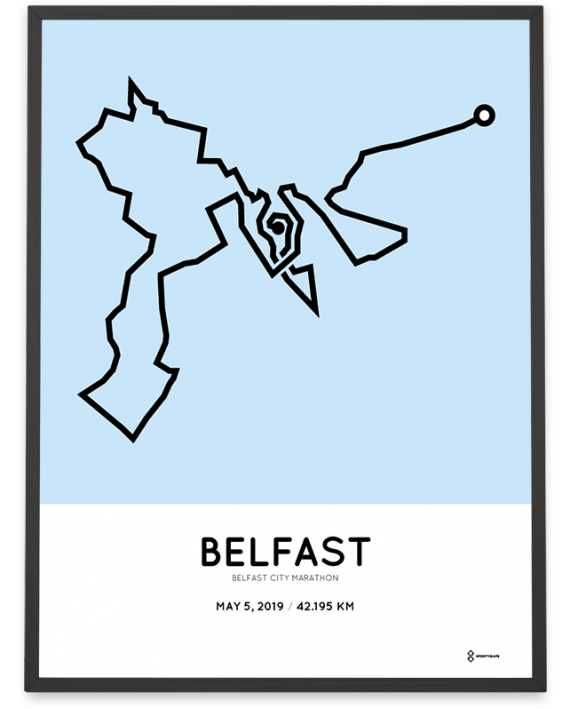 2019 Belfast city marathon course poster