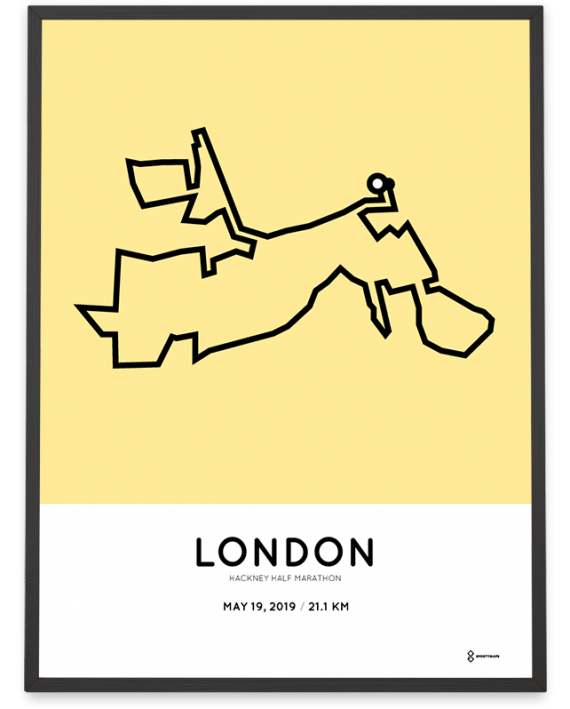 201 Hackney half marathon sportymaps course poster