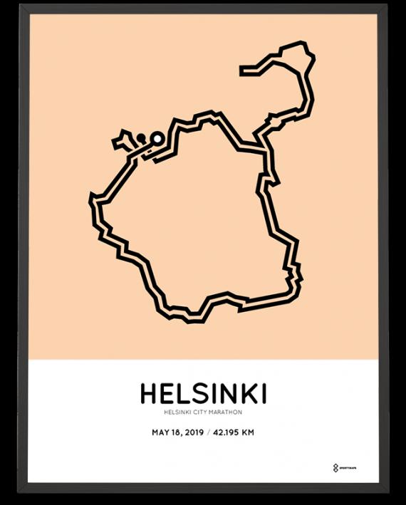 2019 Helsinki City Marathon Sportymaps course poster