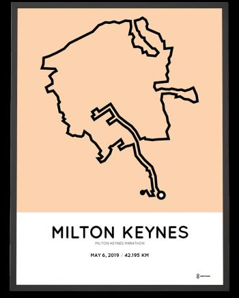 2019 Milton keynes marathon routemap print