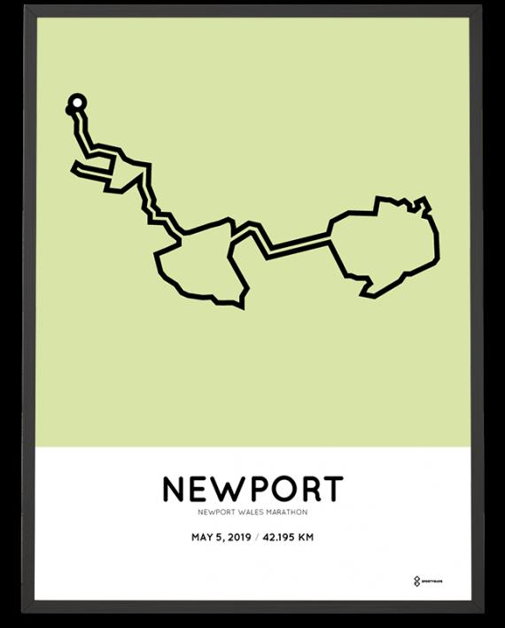2019 Newport Wales marathon course poster