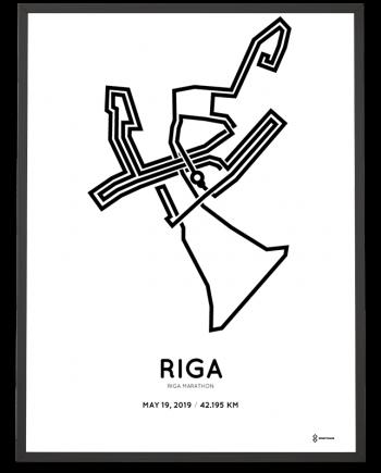 2019 Riga marathon routemap print