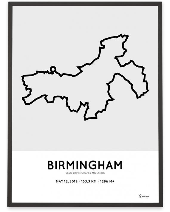 2019 Velo Birmingham and Midlands course poster