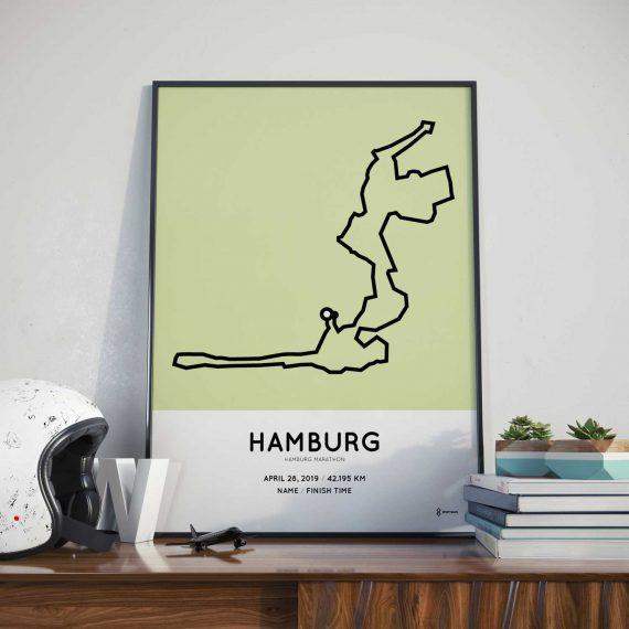 2019 Hamburg marathon strecke print