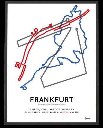 2019 Ironman European Championship Frankfurt routemap print