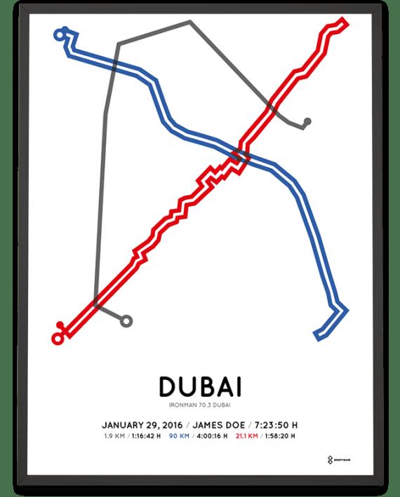2016 Ironman 70.3 Dubai routemap print