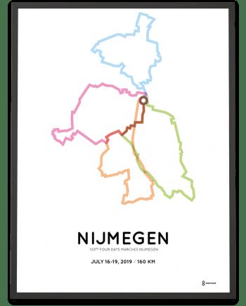 2019 Vierdaagse nijmegen 160km parcours poster