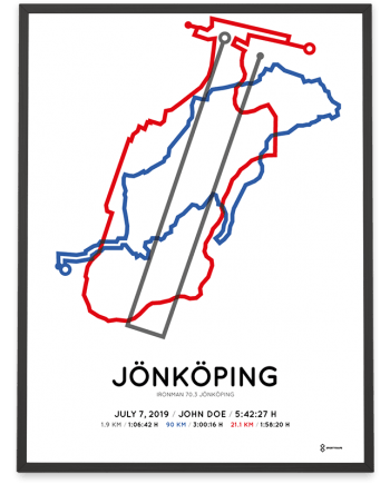 2019 Ironman 70.3 Jönköping coursemap print