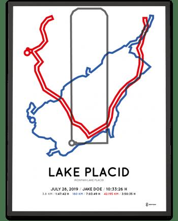 2019 Ironman Lake Placid routemap sportymaps poster