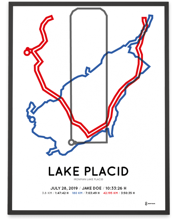 2019 Ironman Lake Placid routemap sportymaps poster