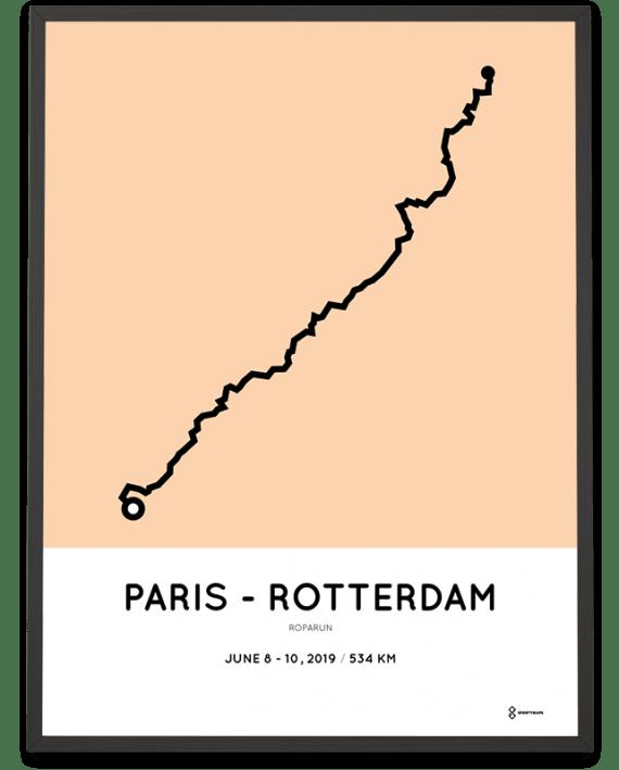 2019 Roparun paris rotterdam parcours poster