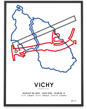 2019 Ironman Vichy routemap print by Sportymaps