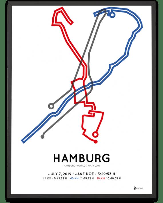 2019 Hamburg World Triathlon strecke print