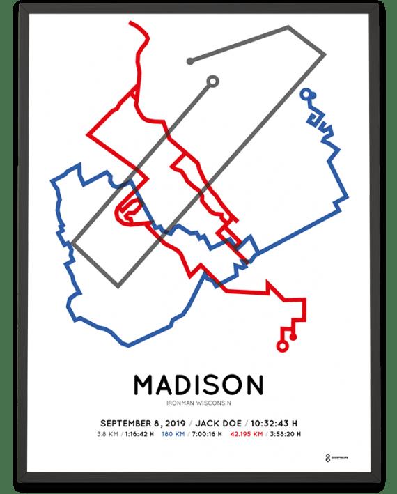 2019 Ironman Wisconsin coursemap poster